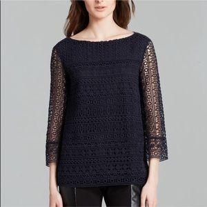 Tory Burch Crochet Sleeve Blue Top